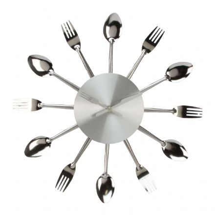 Forks & Spoons ~ Metal Wall Clock with Cutlery 36 cm